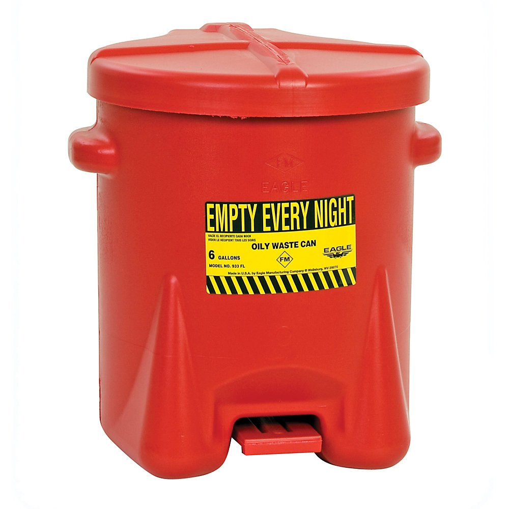 Eagle Polyethylene Waste Can - 16-1/2'' Dia.X13-1/2''H - 6-Gallon Capacity - Red by Eagle