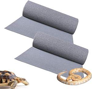 ZYYRT Reptile Carpet Mat2Pcs Lizards Terrarium Substrate Liner Bearded Dragon Bedding Supplies for Snakes Gecko Chamelon Turtles Iguana (Grey Green)