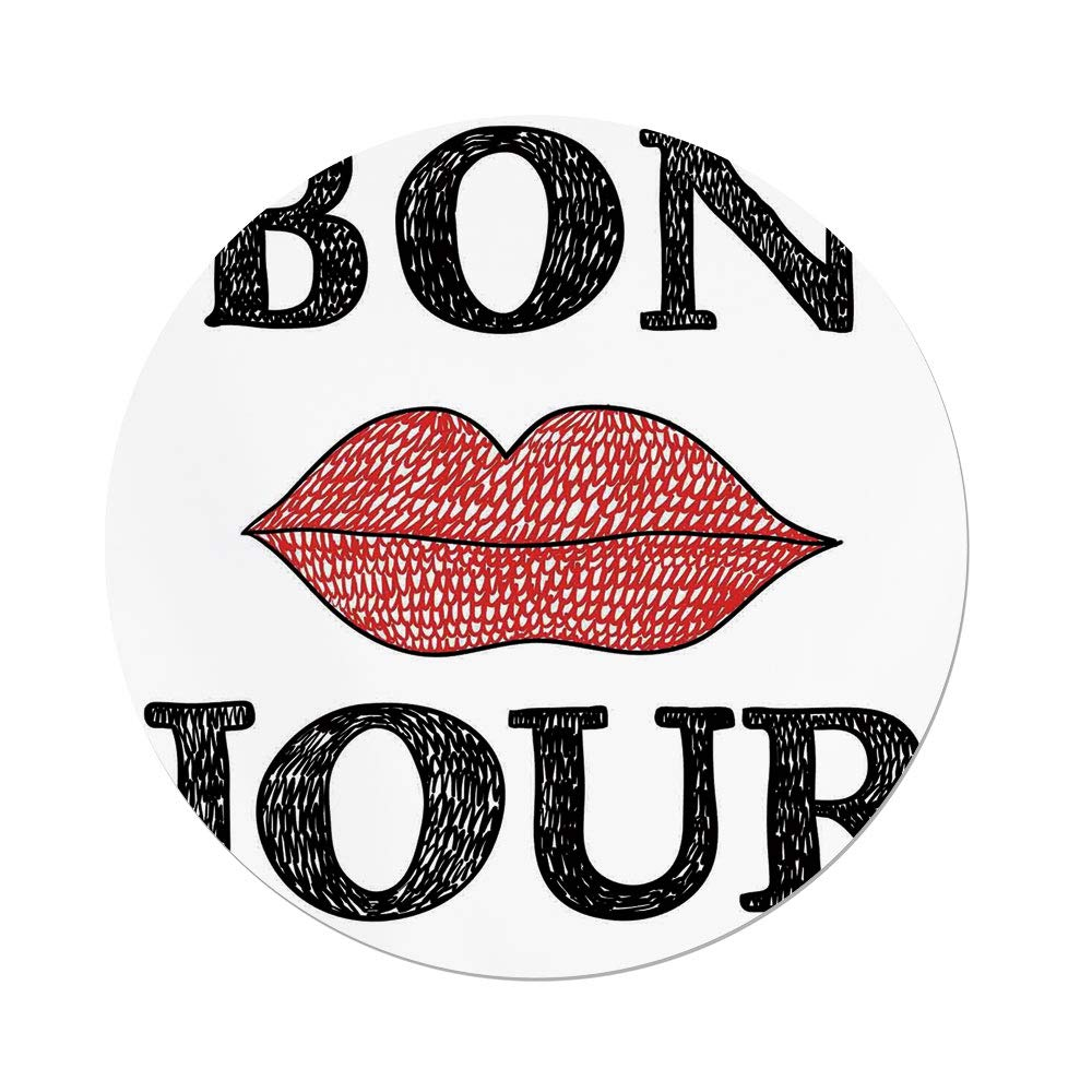 iPrint Polyester Round Tablecloth,Lifestyle Decor,Hand Drawn Vintage Bon Jour Quote with Female Lips French Good Day Image,Black Red,Dining Room Kitchen Picnic Table Cloth Cover,for Outdoor Indoor by iPrint