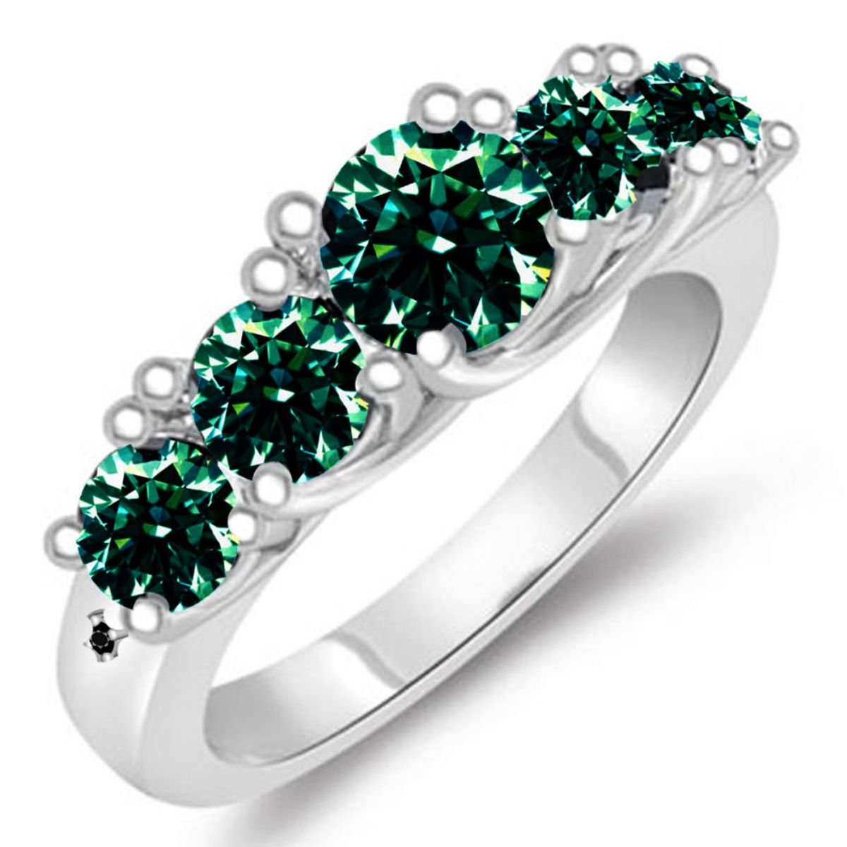 RINGJEWEL Silver Plated Moissanite Engagement Ring (4.40 ct,SI1,Round-Cut,White Green Color,Size 7).