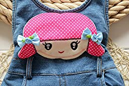 Kidscool Little Girls Imitation Denim Cute Rompers Soft To Wear Cotton Overalls