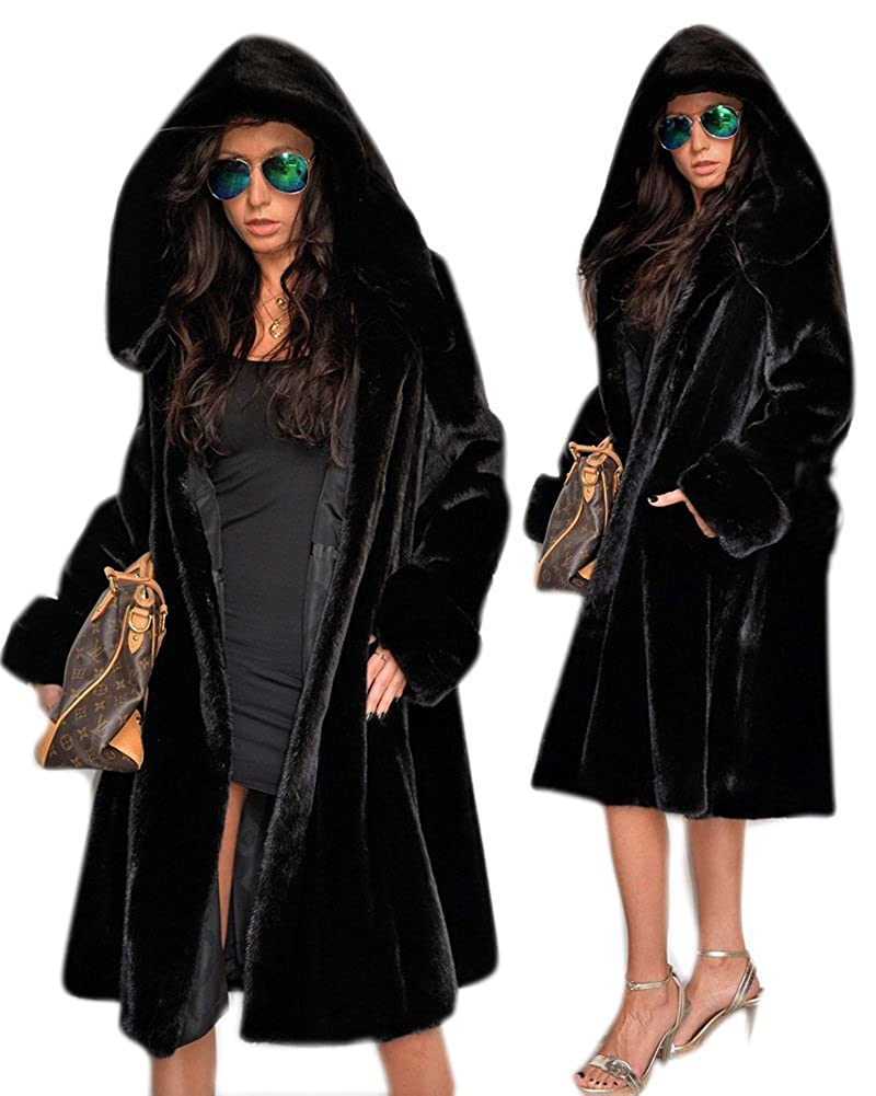 Roiii Womens Winter Luxury Outerwear Long Sleeve Faux Mink Faux Fur Plus Size Hooded Coat 7038
