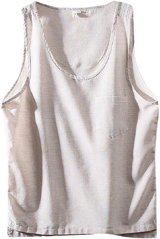 Camiseta de Tirantes para Hombre Verano Moda Casual algodón y Lino Camisa sin Mangas de Tank Top Slim Color sólido Chaleco Deportiva Estilo Chino: Amazon.es: Ropa y accesorios