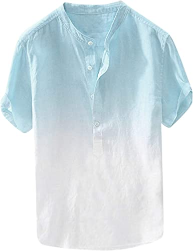 Mens Short Sleeve Hippie Printed Vintage Shirts Casual Beach Party Blouse Top US