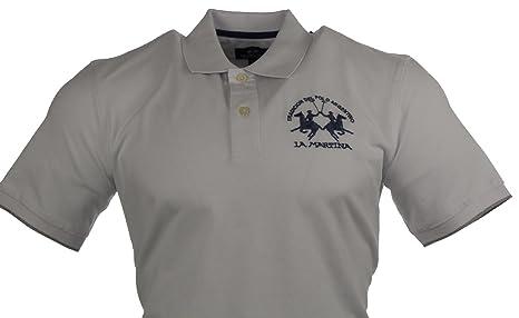 La Martina Herren Polo - Weiß mit blauem Logo - Größe L: Amazon.de:  Bekleidung