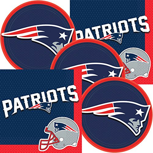 New England Patriots NFL Football Team Logo Plates And Napkins Serves 16