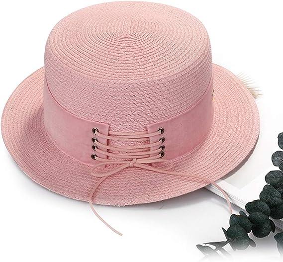 MT-SDKS Womens Flat Top Beach Straw Boater Travel Everyday Sun Hat