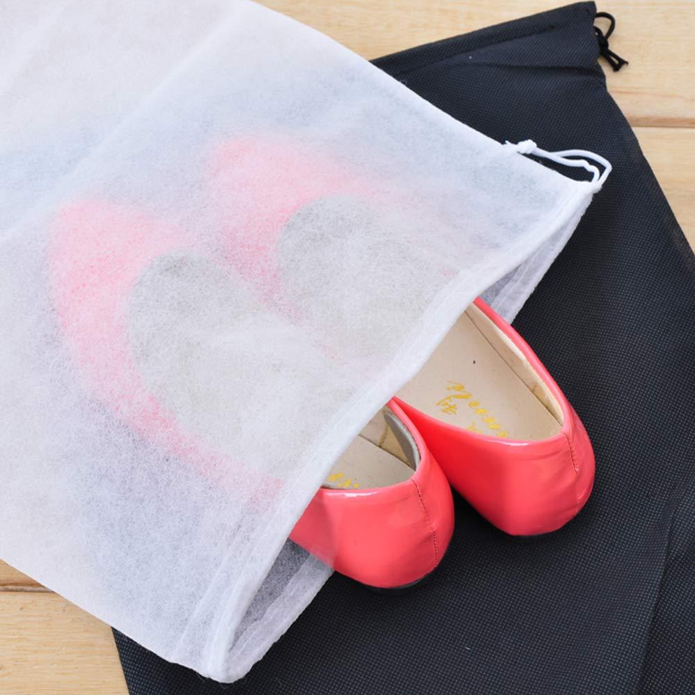 Xeminor 10Pcs Non-Woven Shoe Bag Travel Dustproof Drawstring Organizer Travel Carrying Supplies(White) by Xeminor (Image #5)