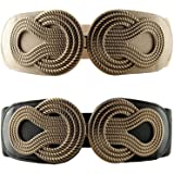 VOCHIC 2pcs Vintage Metal Interlock Buckle Wide Elastic Waist Belt Womens Basic Stretchy Cinch