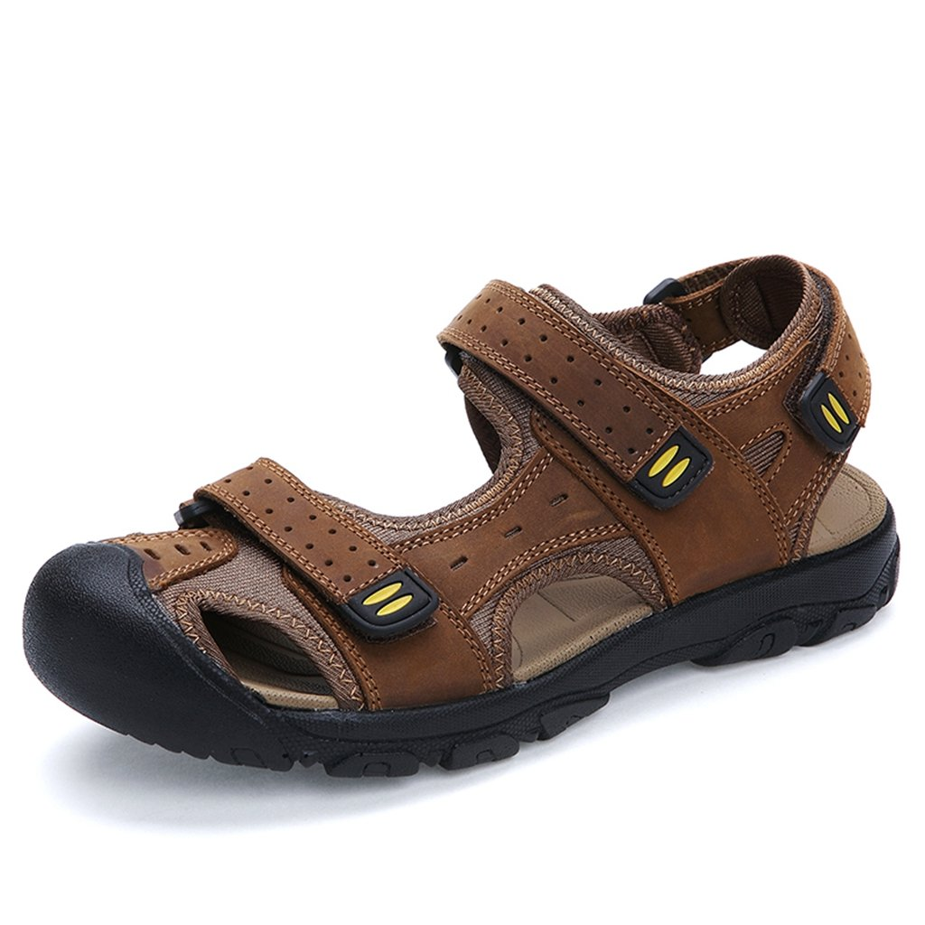 Meijili Men's Leather Sandals Beach Shoes Casual Summer Outdoor Sports Sandals Brown UK 12 pBIHPA19