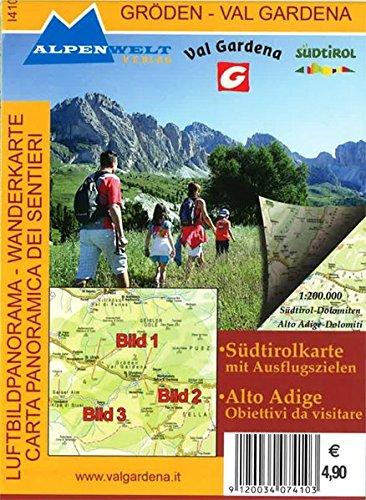 Luftbildpanorama & Wanderkarte - Gröden - Val Gardena