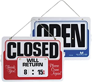 Headline Sign Double-Sided Open/Closed 8 Inches by 11 Inches Sign with Dial-A-Time Will Return Feature (9385)