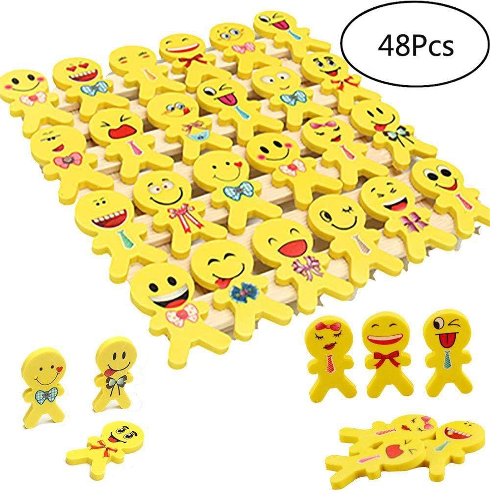 YueChen Emoji Emoticon lápiz Gomas borrar Lindos , Regalo de Regalo para la Fiesta de cumpleaños Fiesta de los niños recompensa Escolar Fiesta en el jardín (48)