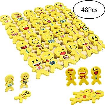YueChen 48 x Emoji Emoticon Lápiz Gomas borrar Lindos, Regalo de Regalo para la Fiesta de Cumpleaños Fiesta de los Niños recompensa Escolar Fiesta en ...