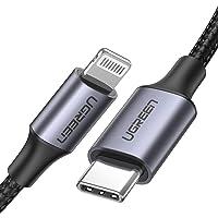 UGREEN Cable USB C a Lightning Nylon Trenzado MFi Certificado para iPhone 11/11 Pro/11 Pro Max/X/XS/XS MAX/XR/8/8 Plus, iPad Pro, iPad mini 5, Air, Carga Rapida para Apple Con Cargador Tipo C (1M)