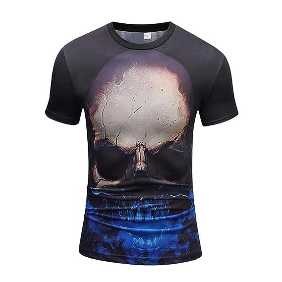 Camisetas Calaveras Hombre LHWY, Camisetas De Cuello Redondo con Estampado De 3D Camisetas Talla Grande