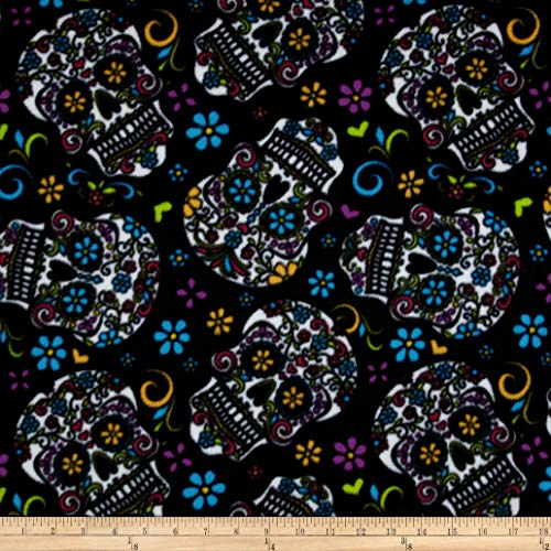 David Textiles Celebration Fleece Folkloric Skulls Black Fabric by The Yard,