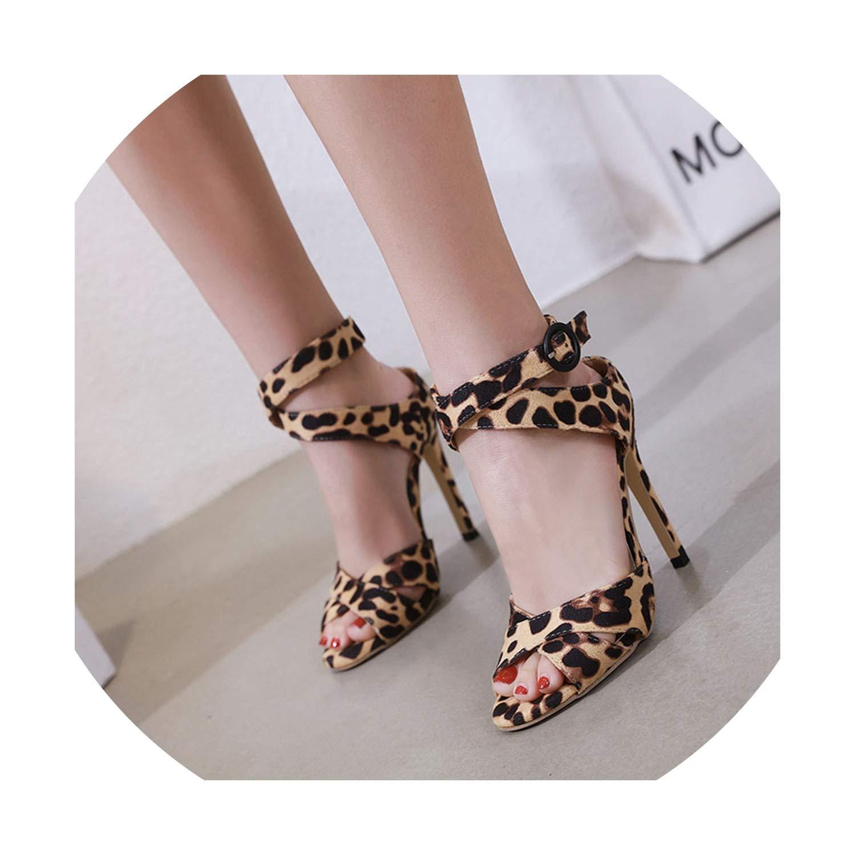 Women Leopard Party Shoes New Peep Toe Stiletto High Heels Shoes Woman Sandals J437
