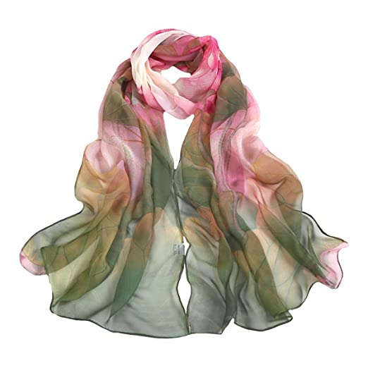 99146fa99 Danse Jupe Ultra-thin Soft Beach Scarf Silk Georgette Scarf Lotus Print  Sunscreen Shawl Gift