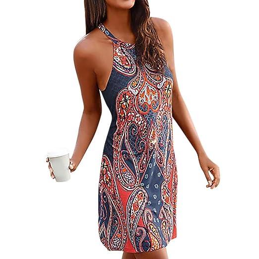 DOGZI Vestidos Las Mujeres Halter Cuello Boho Imprimir Sin Mangas Casual Mini Beachwear Vestido Sundress Casual Elegantes Mujer Vestido de Noche: Amazon.es: ...
