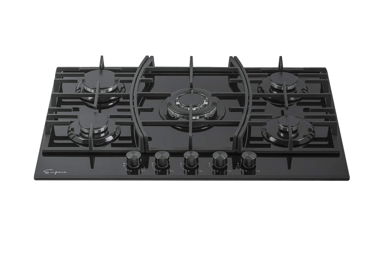 Empava 30 Black Tempered Glass 5 Italy Sabaf Burners Stove Top Gas Cooktop EMPV-30GC918