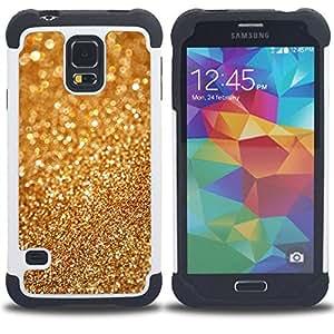 For Samsung Galaxy S5 I9600 G9009 G9008V - Gold Dust Bling Blurry Metal Glitter Shiny /[Hybrid 3 en 1 Impacto resistente a prueba de golpes de protecci????n] de silicona y pl????stico Def/ - Super Marley