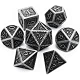 Haxtec Antique Iron Metal Dice Set 7 Die D&D Dice for Dungeons and Dragons Games