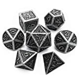 Haxtec Antique Iron DND Metal Dice Set Silver D&D Polyhedral Dice for Dungeons and Dragons TRPG