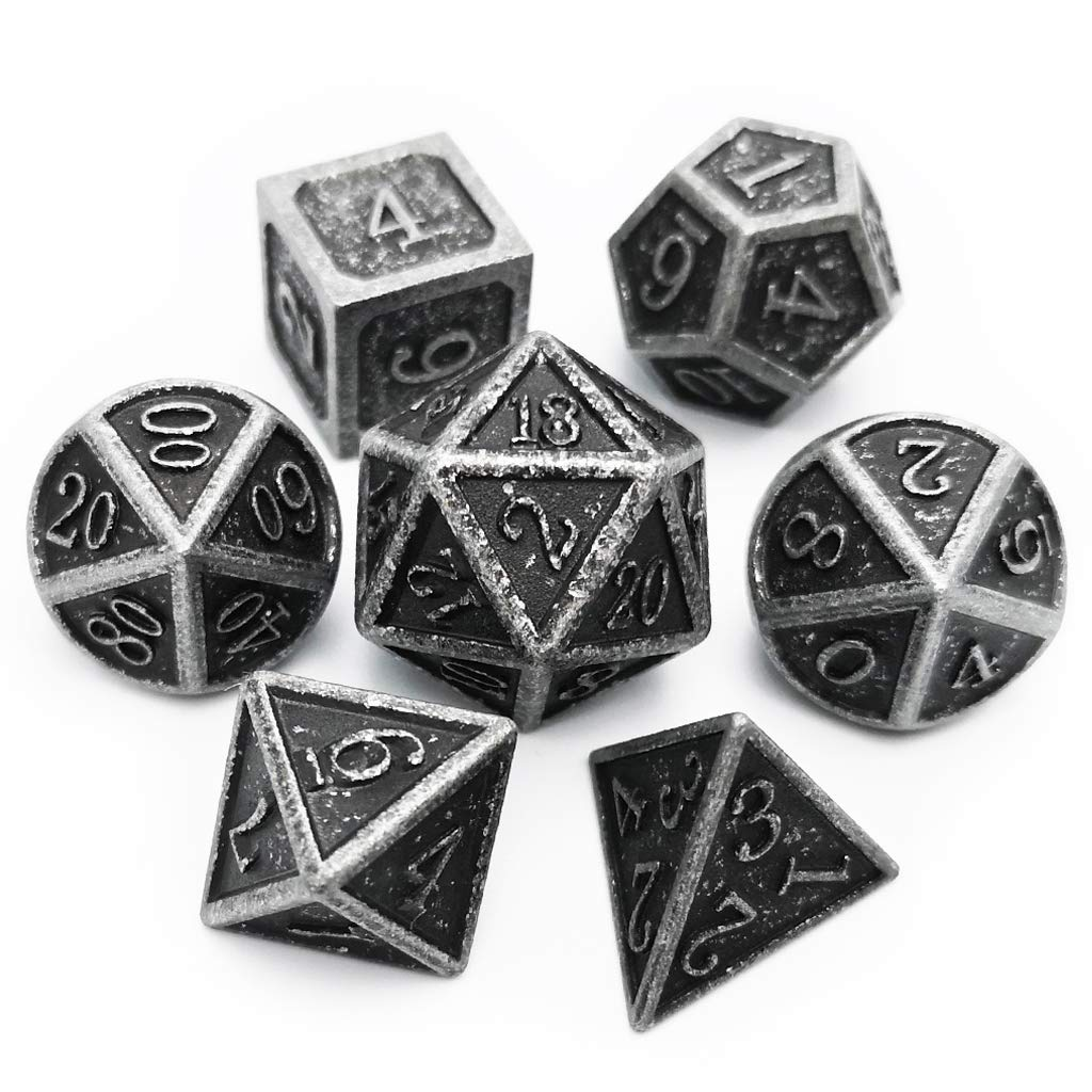 Haxtec Antique Iron Metal Dice Set 7 Die D&D Dice for Dungeons and Dragons Games. by Haxtec