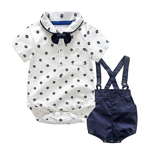 1b9adc77c51e Amazon.com  Sunhusing Infant Boys Polka Dot Print Bow Tie Short ...