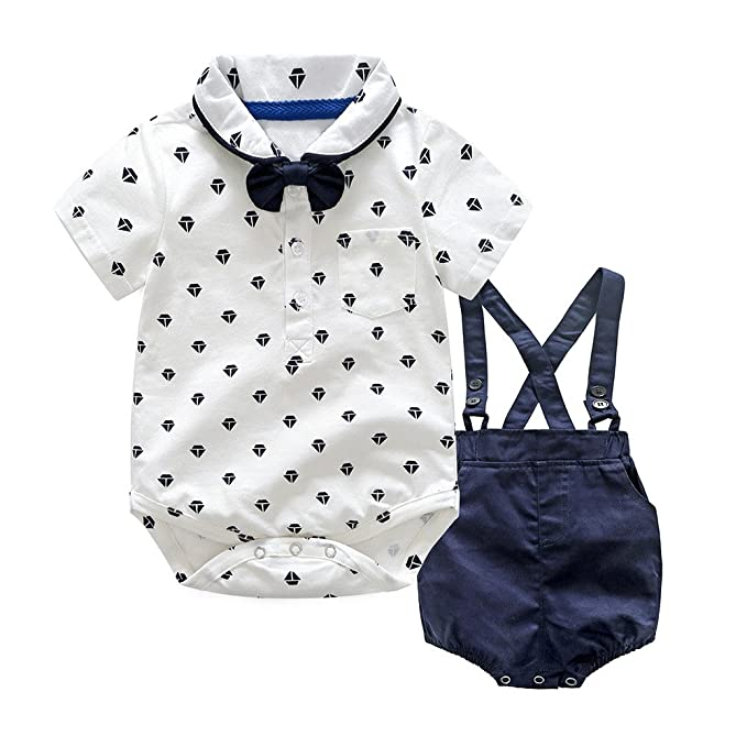 2cd664d9e PAOLIAN Pichi para Bebé Niños de Corbata de Boda Conjuntos Ropa para Niños  Babe para Verano Manga Corta Camisas de Diamante y Pantalones Cortos ...