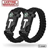 Cos2be tactical Survival paracord Bracelet - 5 in 1 gear Kit black 2 pcs set with embedded fire Starter Compass Emergency knife For Camping hunting Hiking and outdoors for men women and kids