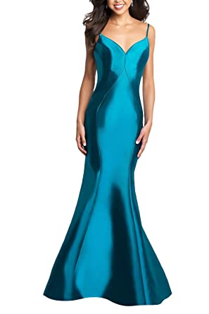 Mermaid Backless Prom Dresses Long Spaghetti Strap V Neck Formal Evening Gowns Blue Size 2