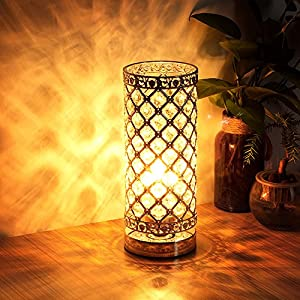 Crystal Table Lamp Touch Control Dimmable Accent Desk Lamp Bedside Modern Table Light with Sliver Lamp Shade Night Light Fixture for Living Room Bedroom Kitchen, by Seaside Village