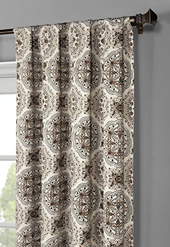 Window Elements Caroline Printed Cotton Extra Wide 104 x 96 in. Rod Pocket Curtain Panel Pair, Chocolate