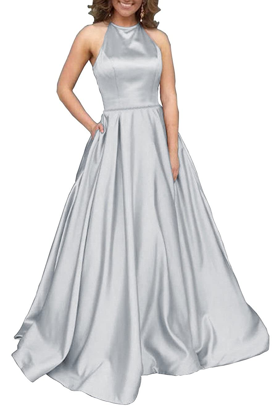 Womens Halter A-line Beaded Satin Evening Prom Dress Long Formal Gown with Pockets