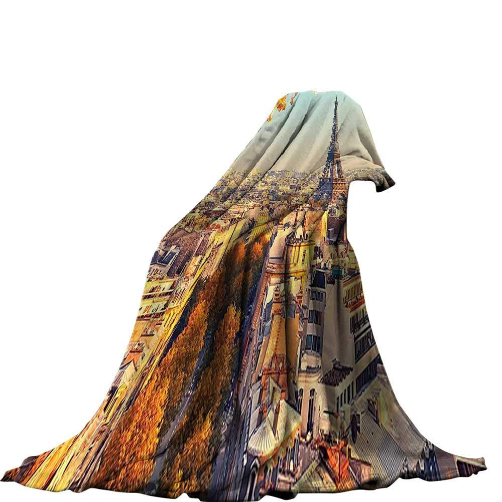 QINYAN-Home デジタルプリントブランケット (50インチ x 30インチ デジタルプリントブランケット エッフェル塔 装飾 星 エッフェル塔 水上 フランスの有名な月の反射 60