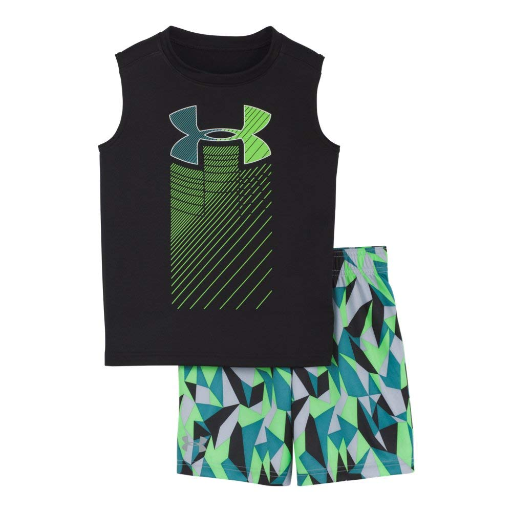 Under Armour Boys' Baby UA Muscle Tank and Short Set, Black-S194, 18M