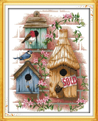 Zamtac Log Cabin Counted Cross Stitch 11CT Printed 14CT Cross Stitch Set DIY Chinese Cotton Cross-Stitch Kit Embroidery Needlework - (Cross Stitch Fabric CT Number: 14CT White Canvas)