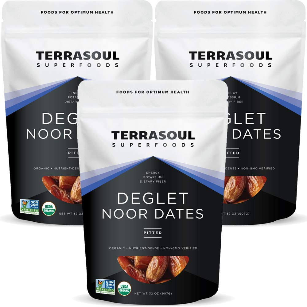Terrasoul Superfoods Organic Deglet Dates, 6 Lbs (3 Pack) - Pitted | Fresh | Natural Sweetener