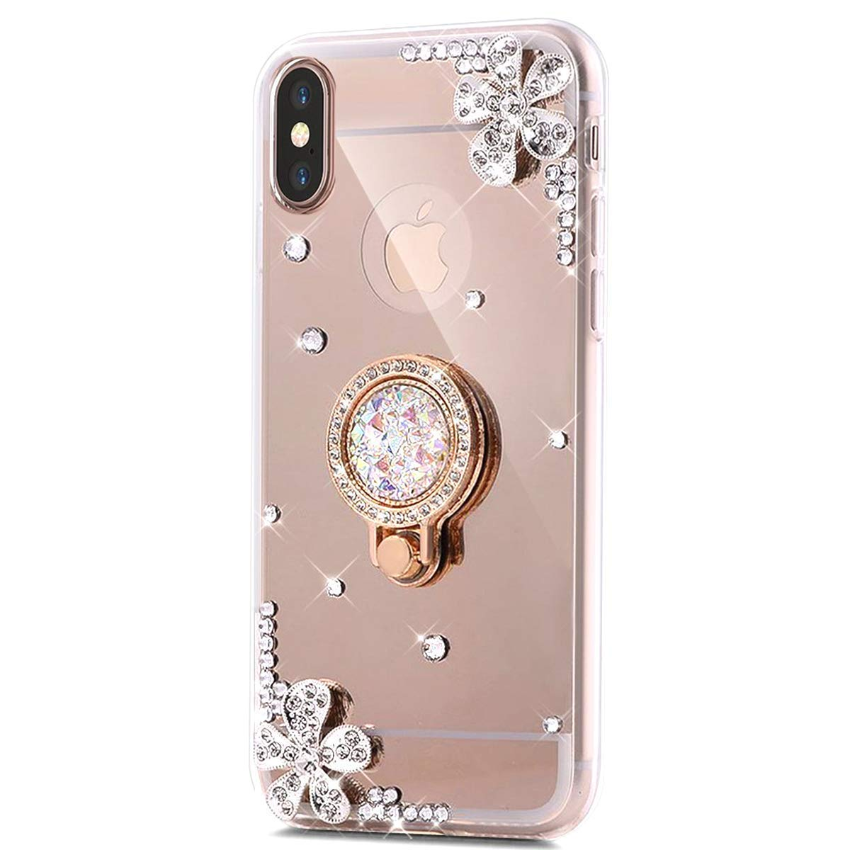 Surakey Case for iPhone XR, Slim Shiny Bling Glitter Diamond Luxury Sparkly Crystal Silicone Protective Cover Case Kickstand Rotating Ring Holder Rhinestone TPU Bumper for iPhone XR, Rose Gold SUR0002328