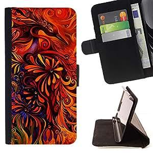 For Apple (5.5 inches!!!) iPhone 6+ Plus / 6S+ Plus Case , Arte floral rojo vibrante brillante- la tarjeta de Crédito Slots PU Funda de cuero Monedero caso cubierta de piel
