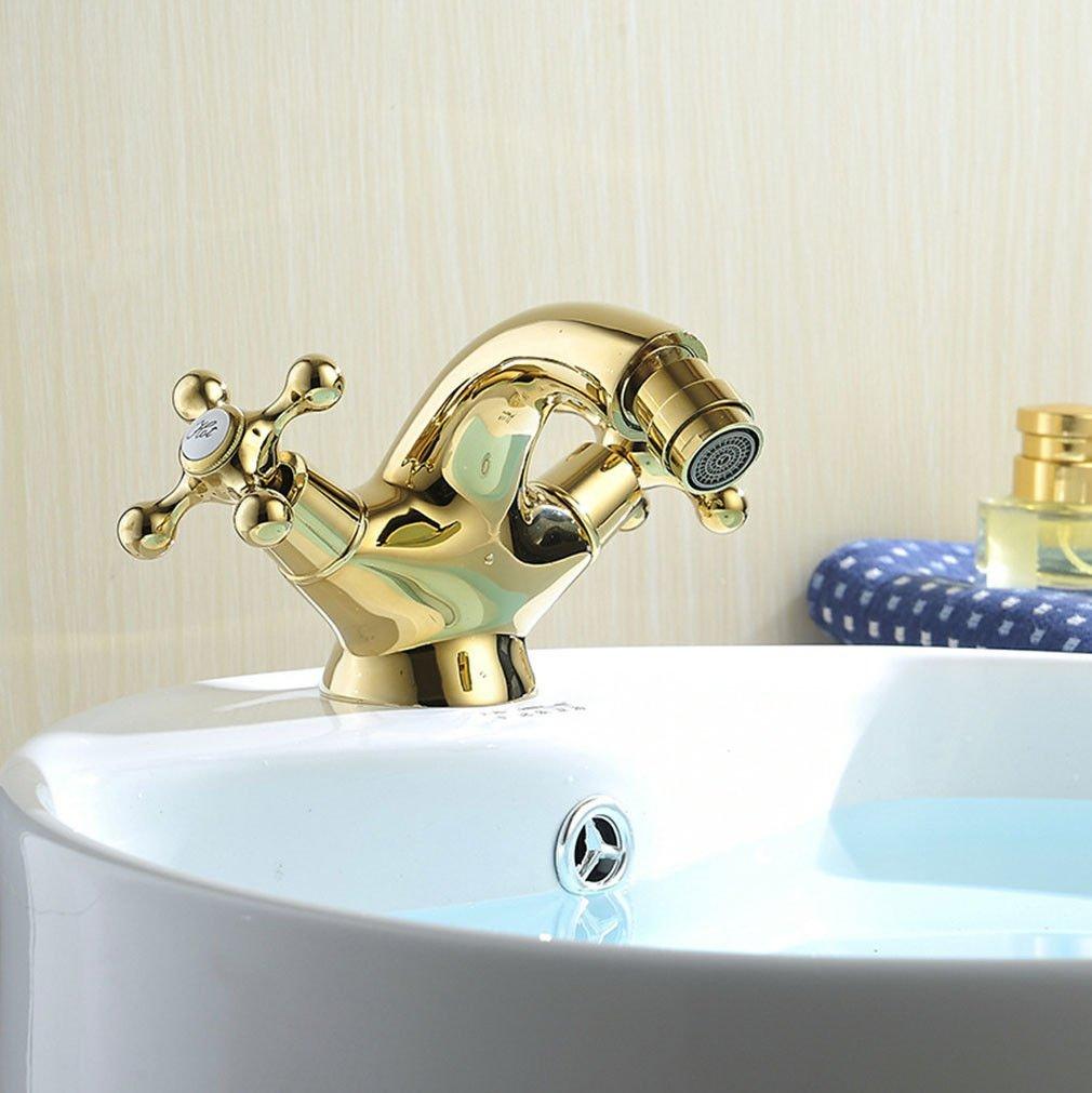 MEIBATH Waschtischarmatur Badezimmer Waschbecken Wasserhahn Küchenarmaturen Messing verGoldet 2-Hebel 1 Bohrung Küchen Wasserhahn Badarmatur