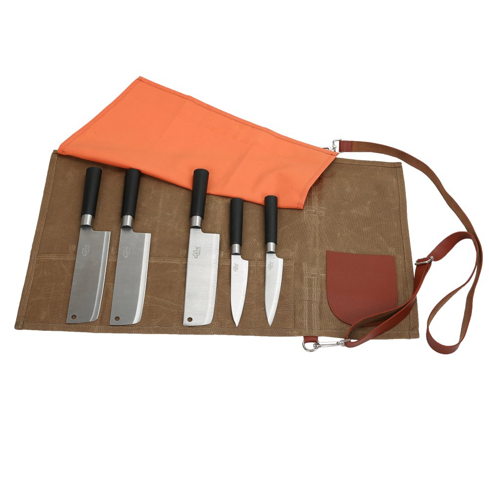 12 Oz Waxed Canvas Chef's Knife Roll Up Storage Bag Waterproof Multi Purpose Knife Storage Tote Bag with 7 Slots & 1 Sewing Pocket - Easily Carried Handle & Adjustable Shoulder Strap CYDD07