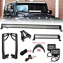 Racbox 1 x 22'' 120w LED Light Bar with Hood Mount Brackets + 1 x 52'' 300W LED Light Bar + 2 x 4'' 18W LED Light bar + Mounting Brackets with Wiring Kit for Jeep Wrangler JK