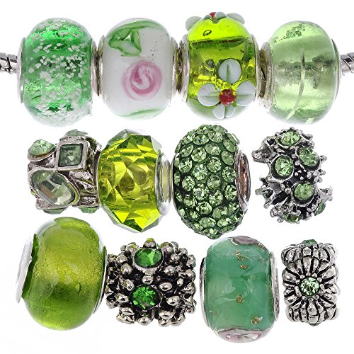 RUBYCA Murano Lampwork Charm Glass Beads Tibetan Crystal European Bracelet Mix Assortment Green (Green Lampwork Beads)