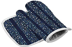 Patterned Oven Gloves Abstract Creative Heat Resistant Kitchen Gloves Dots Circles Striped