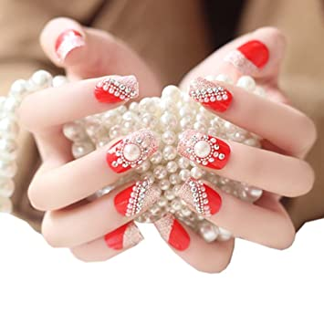 Amazon.com : Stylish Wedding Bridal Nail Jewelry French Nails ...