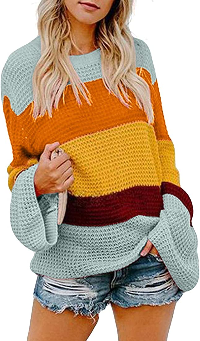 Belgius Women Knit Loose Pullover Sweater Crew Neck Flare Sleeve Striped Tops