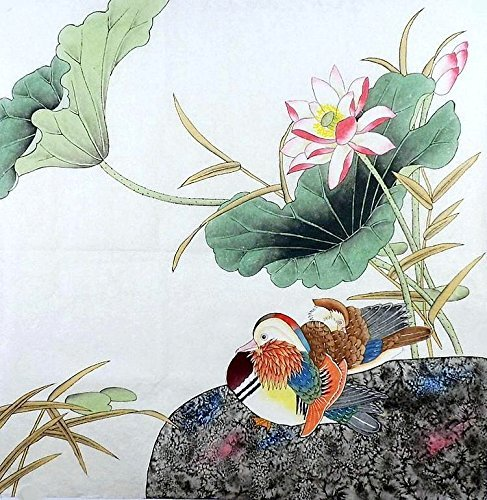 Original Chinese Painting - Original mounted Chinese watercolor painting mandarin ducks Life-time Love P145